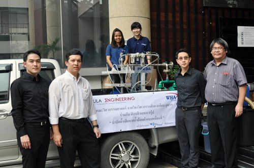 WHA Group and Chulalongkorn University's Faculty of Engineering launch a mobile unit to treat wastewater from garment dyeing process to honor His Majesty King Bhumibol Adulyadej